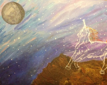 Unicornius Major- constellation painting. Original, 11x14, acrylic on canvas