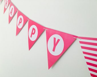 Happy Birthday Bunting Flags Hot Pink