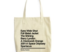 Stanley Kubrick Tote - Movie Tote Bag - Gift for cinema lover - A Clockwork Orange - Kubrick Tote Bag - A space Odyssey - The Shining