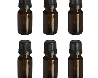 NEW 6 Pack of Essential Oil Amber Glass Bottles With Orifice And Cap 10 ml Size