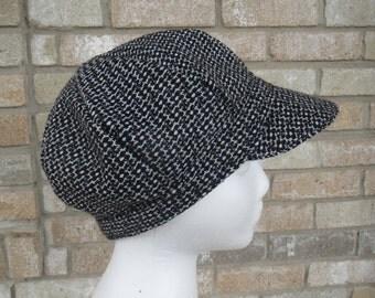 Women's Black and White Wool Newsboy Hat