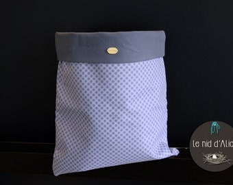 Toy bag / pouch lined cotton blue 30 x 33 cm