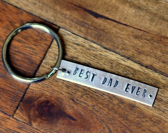 Christmas Gift for Dad, Best Dad Ever Custom Keychain, New Dad Gift, Engraved Keychain, Personalized Keychain, Gift for Dad From Daughter