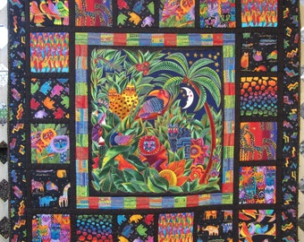 Jungle Book, Handmade, One of a Kind, Cotton Quilt, Animal Quilt, Lap Quilt, Wall Quilt