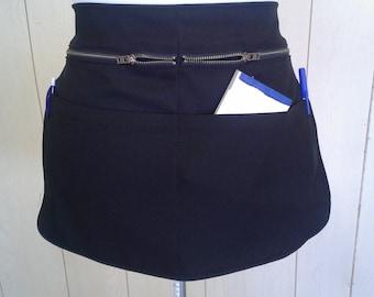 apron w/zipper ,polyester waist  apron,   apron with pockets   ,   waist apron , black waist apron