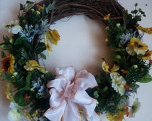 SALE - Yellow pansy grapevine wreath