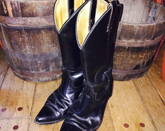 Vintage leather black Cowboy boots