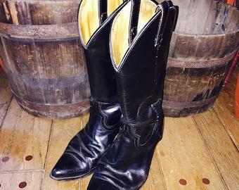 Vintage leather black Cowboy boots