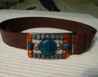 Belt buckle with turquoise and coral
