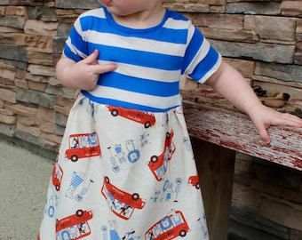 Wheels on the Bus Toddler Dress, Wheels on the Bus Baby Dress, Toddler Dress, Baby Dress, Birthday Dress