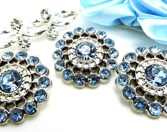 Light Blue Rhinestone Buttons Acrylic Rhinestone Buttons Pin Wheel Shaped Rhinestone Buttons Coat Buttons Fashion Buttons 26mm 3186 11R