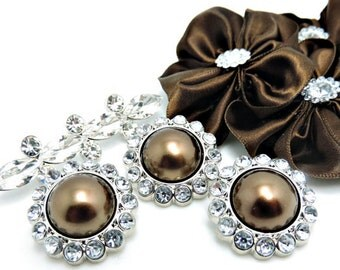 BROWN Pearl Rhinestone Acrylic Buttons W/ Crystal Clear Surrounding Rhinestones Brooch Bouquet Coat Buttons 26mm 3185 69P 2R