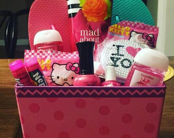 Pampered basket, pampered, pink,