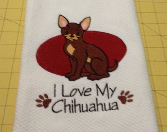 I Love My Chihuahua Embroidered Kitchen Hand Towel, Williams Sonoma All Purpose, 100% cotton & Extra Large
