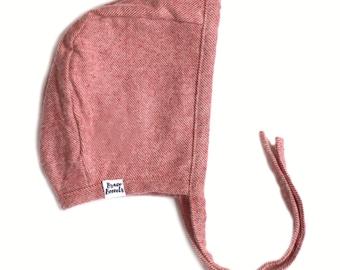 Bonnet in Rose Flannel - baby bonnet, winter bonnet, baby flannel bonnet, modern bonnet, baby hat, baby shower gift, toddler bonnet, kids
