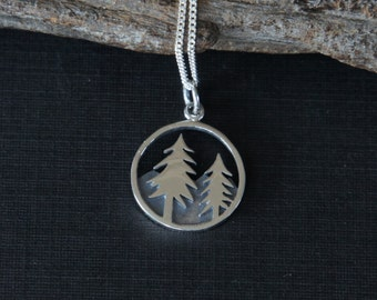 Sterling silver Forest necklace, 15mm, Nature Lover's Gift, Birthday Gift, Mother's Gift