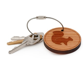 Flying Squirrel Keychain, Wood Keychain, Custom Keychain, Gift For Him or Her, Wedding Gifts, Groomsman Gifts, and Personalized
