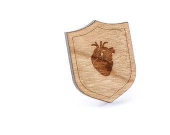 Anatomical Heart Lapel Pin, Wooden Pin, Wooden Lapel, Gift For Him or Her, Wedding Gifts, Groomsman Gifts, and Personalized
