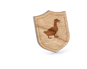 Duck Lapel Pin, Wooden Pin, Wooden Lapel, Gift For Him or Her, Wedding Gifts, Groomsman Gifts, and Personalized