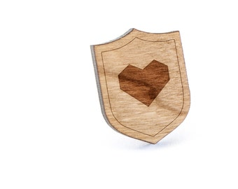Origami Heart Lapel Pin, Wooden Pin, Wooden Lapel, Gift For Him or Her, Wedding Gifts, Groomsman Gifts, and Personalized