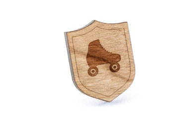 Roller Skates Lapel Pin, Wooden Pin, Wooden Lapel, Gift For Him or Her, Wedding Gifts, Groomsman Gifts, and Personalized
