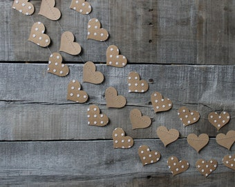 Rustic Bridal Shower Decor - Brown and White - Rustic Bridal Shower - Polka Dot Hearts