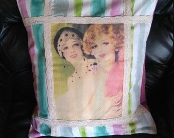 Vintage style ladies cushion cover