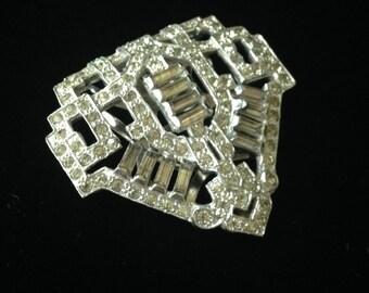 Art Deco Dress Clip- Art Deco Scarf Clip- Vintage Rhinestone Dress Clip- Art Dwco Rhinestone Dress Clip- Art Deco Rhinestone Jewelry