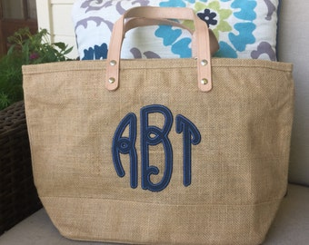 Jute Tote Bag with Leather Applique Monogram