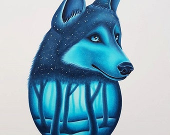 Wolf and Ice Blue Forest