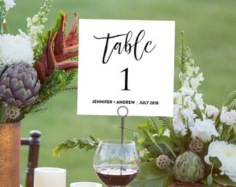 Printable Wedding Table Number Card, Seating Table Card Template, Rustic Wedding, Instant Download, Editable PDF File, Digital Download