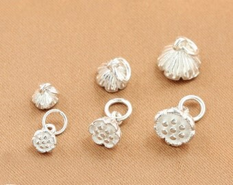 2 pcs 5-9mm Sterlng Silver Flower charm pendant diy jewelry materials,Matte Silver charm (1-27)