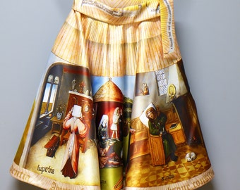 "Skirt with printed  ""The Seven Deadly Sins"" by Hieronymus Bosch/ Midi skirt"
