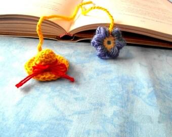 Bookmarks, bookmark, bookmark Hat yellow, crochet, handmade, OOAK, handmade, unique