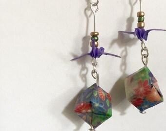 Origami Earrings Crane & small box Japanese pattern