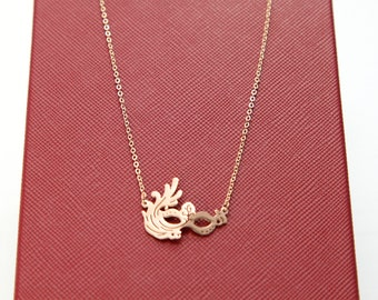 Rose Gold Dainty Necklace, Masquerade/Phoenix Mask Necklace, Gift for Her