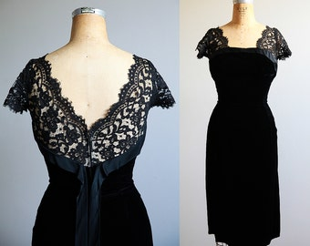 Small 1960s Black Velvet and Lace Party Dress