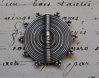 Large Ornate Coin Bead - 925 Silver