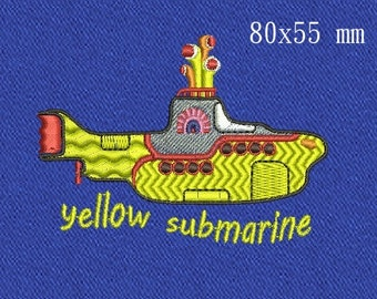 Yellow submarine machine embroidery designs 2 size