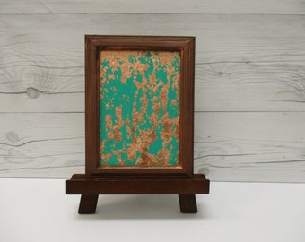 Copper Wall Art, Copper Leaf, Emerald Green Abstract, Green Painting, Modern Art, Framed Art, Mini Painting, Affordable Art, Mini Art