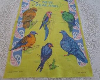 "Vintage Tea Towel Birds of New Zealand  ""Rosella"" Linen, Vintage Linen Tea Towel, Birds of New Zealand. Tea Towels, Vintage Kitchen Towels"