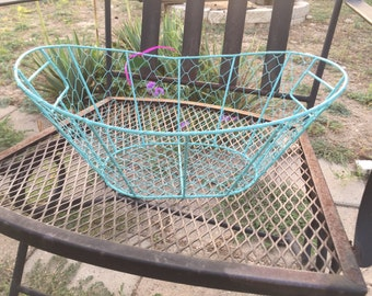 Wire basket, powder coated, sea foam blue