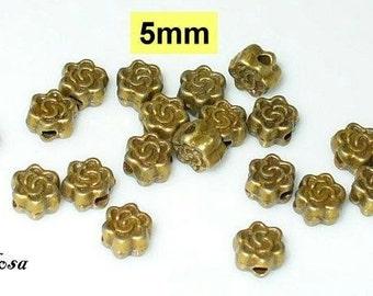 20 beads, beads bronze flower 5mm (K107. 5)