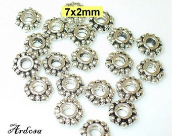 20 Metal Beads 7 x 2 mm Daisy silver (103.7.6)