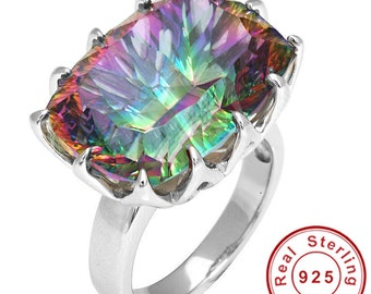 Genuine HUGE 23ct Mystic Rainbow Topaz Ring 925 Sterling Silver Concave Size 7