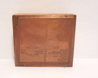 Antique Copper Printing Press Block Silk Screen Restaurant Menu Etched