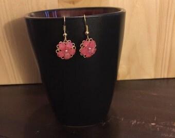 Gold dangle flower earrings  nickel free