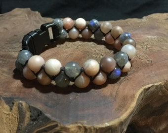 Unpolished Moonstone & Labradorite 8mm Spiritual Bead Bracelet.