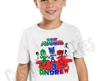 Customized PJ Masks Birthday Shirt Add Name & AGE Gift Favors  Personalized PJ Masks Birthday Shirt