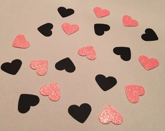 200 Pink and Black Heart Confetti Bachelorette Confetti Birthday Confetti Wedding Confetti Shower Confetti Pink Confetti Black Confetti